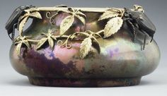 Lucien Lévy-Dhurmer (1865-1953) (Glazer) & Clément Massier (1844–1917) (Potter) - Scarab Centerpiece Bowl. Iridescent-Glazed Pottery with Patinated Bronze Mounts. Golfe-Juan, France. Circa 1890.