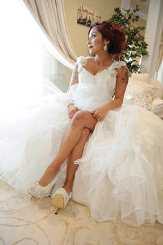 The ever-gorgeous Nicole 'Snooki' Polizzi in her bridal gown by Eve of Milady from Bridal Reflections – Vivian Photography