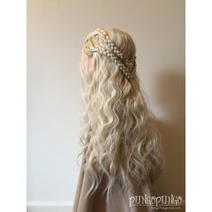Game of Thrones Costume Wig Long Blonde Hair Braids Khaleesi Daenerys... ($195) ❤ liked on Polyvore featuring bath & beauty, black, hair care and wigs
