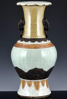 A large Chinese porcelain blue and white crackle glaze vase and original lid. Vase: In excellent original condition. Porcelain Vase, Vases, Chinese, Blue And White, Decor, Decoration, Decorating, Dekorasyon, Jars