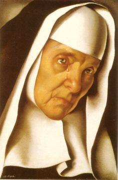 A beautiful painting of a Nun with gorgeous details ..-The Mother Superior by Tamara de Lempicka