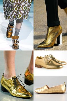 A metallic shoe is a great way to add flash to an otherwise simple outfit. Retailers who aren't as known for edginess be successful selling gold themed accessories as opposed to pricier golden garments