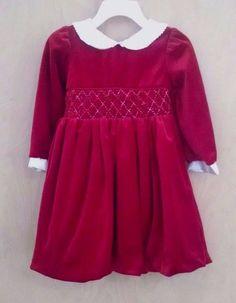 Little Bitty Toddler Girls Christmas Dress 2T Red Stretchy Velvet  Smocked #LittleBitty #DressyHoliday