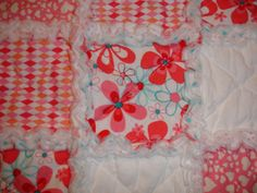 Baby Girl Rag Quilt Throw Blanket  Pink White by KeriQuilts, $48.00