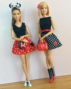 They look like Minnie Mouse Nurse Barbie, Barbie Et Ken, Barbie Sets, Barbie Dolls Diy, Barbie Fashionista Dolls, Diy Barbie Clothes, Barbie Made To Move, Disney Princess Fashion, Barbie Family