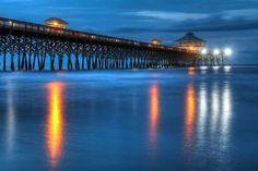 Folly Beach Pier At Blue Hour Charleston South Carolina Print  by Carol R Montoya