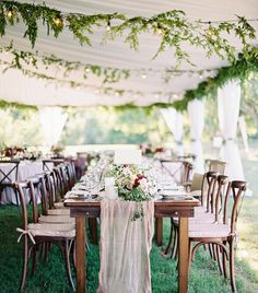"4,468 Likes, 46 Comments - Martha Stewart Weddings (@martha_weddings) on Instagram: ""This reception tent was full of romantic touches - from hanging greenery garlands to the gauzy…"""