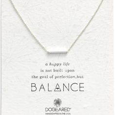 """Dogeared Balance Bar Necklace A delicate bar pendant at the center of a handcrafted chain symbolizes balance, the key to a happy life.  18"""" length; 3/4"""" x 1/8"""" pendant. Sterling silver.  100% Authentic. Dogeared Jewelry Necklaces"""