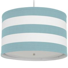Infuse your room in Oilo modern warmth and style while casting a soft glow with this Oilo Pendant Lighting Striped Aqua Cylinder. Its cylinder shade is handmade from aqua and white striped woven co… Home Lighting, Pendant Lighting, Drum Lighting, Nursery Lighting, Kids Lighting, Drum Chandelier, Light Pendant, Pendant Lamp, Aqua
