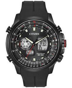 Citizen Men's Analog-Digital Chronograph Eco-Drive Promaster Air Black Polyurethane Watch 47mm JZ1065-13E