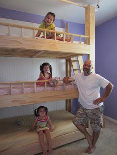 Custom-Made Triple Bunk Beds  
