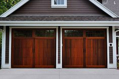 Carriage House Overlay by C. Garage Door Paint, Wood Garage Doors, Garage Door Design, Carriage Style Garage Doors, Carriage Doors, Carriage House, Oak Ridge, Western Red Cedar, Brick
