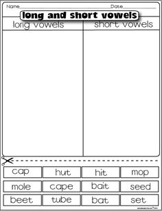 The Lesson Plan Diva: Freebies Long and Short Vowels