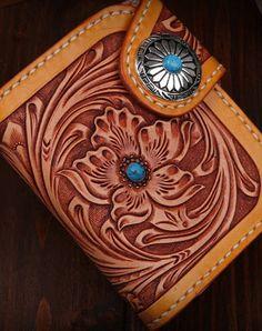 Handmade short leather biker trucker japanese general wallet leather chain men Black Carved Tooled wallet