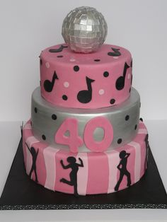 Disco cake www.laura-moser.com Dance Party Birthday, 80 Birthday Cake, Birthday Party Themes, Disco Cake, Disco Theme, 40th Cake, Specialty Cakes, Party Cakes, Cake Designs
