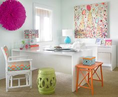 white walled rooms with colorful accents house interiors | Decor and wall art adds color to the white home office [Design: Leigh ...