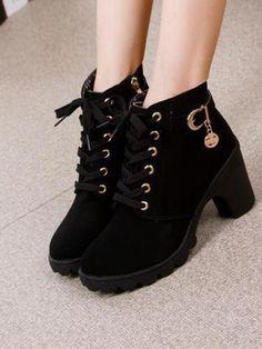 High Heels Metal Decoration Side Zip Boots