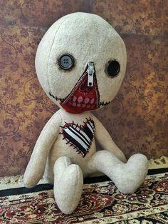 I think you may need one of these little cuties! Ugly Dolls, Creepy Dolls, Cute Dolls, Zombie Dolls, Voodoo Dolls, Sock Dolls, Doll Toys, Muñeca Diy, Zipper Face