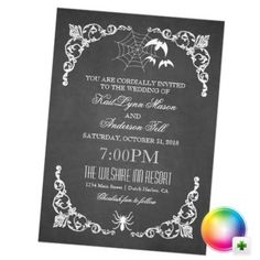 Gray Vintage Halloween Wedding Invitation from PurpleTrail Lovely