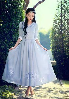 Frock Fashion, Modest Fashion, Fashion Dresses, Vintage Dresses 50s, Vintage Outfits, Modest Dresses, Cute Dresses, Pretty Outfits, Beautiful Outfits