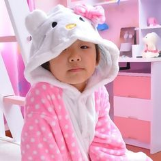 $24.39  Flannel Kids Hello Kitty Cat Onesies Kigurumi Pajamas Animal Cartoon Sleepwear