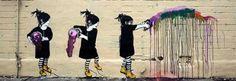 "Druck auf leinwand ""Banksy"" Graffiti - Bild ""Child…"