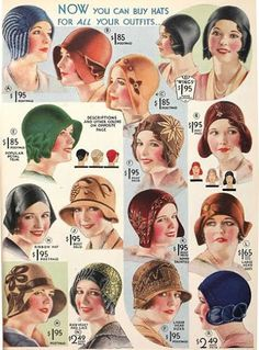 Vintage Hats - 1920's 20s color illustration photo print ad models hats cloche green brown yellow blue