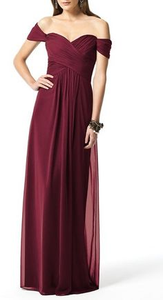 Dessy Collection Ruched Chiffon Gown #burgundy #bridesmaid #dress
