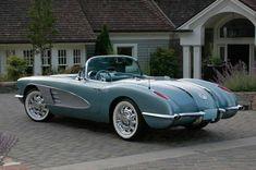Silver Blue 1958 Corvette Resto-Mod Love this car! 1958 Corvette, Chevrolet Corvette, Pontiac Gto, Vintage Cars, Antique Cars, Retro Cars, Automobile, Classic Corvette, Classic Cars