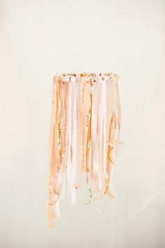 ribbon chandelier made from embroidery hoop