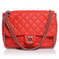 CHANEL Washed Lambskin Chain Around Maxi Flap Bag Red
