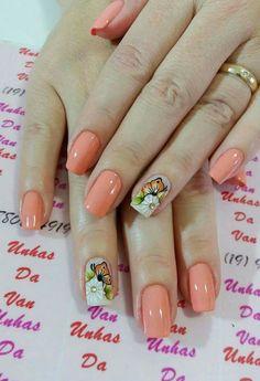 Ideias de unhas decoradas, unhas decoradas delicadas, unhas rosa decoradas, unhas decoradas com Fancy Nails, Cute Nails, Pretty Nails, Peach Nails, Different Nail Designs, Nail Patterns, Flower Nail Art, Nail Polish Colors, Manicure And Pedicure