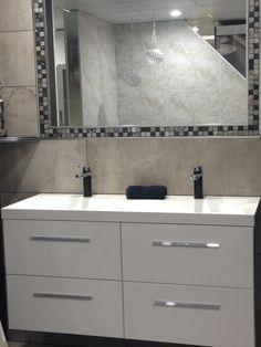DUALCAB twin white gloss vanities with double AMALFI basin top