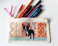Boston Terrier Pencil Case Aztec Pattern by senorpicklesworth