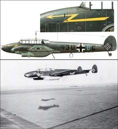 Bf.110B-1.Stab, II Gruppe, Zerstörergeschwader 26.Пилот: Oberleutnant Wilhelm Schaefer. Начало 1940 Ww2 Aircraft, Fighter Aircraft, Military Aircraft, Luftwaffe, Air Fighter, Fighter Jets, Old Planes, War Thunder, Aircraft Painting