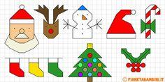 Cornicette di Natale a quadretti da disegnare e colorare