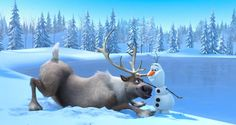 Sven and Olaf become friends in Disney's 'Frozen'