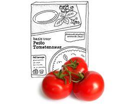 Pastasaus met pesto. Als je aan een pakje al zelf tomaten moet toevoegen, maak dan maar gewoon meteen de héle saus zelf.