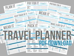 10-page printable Travel/Vacation Planner - PDF instant download - Blue