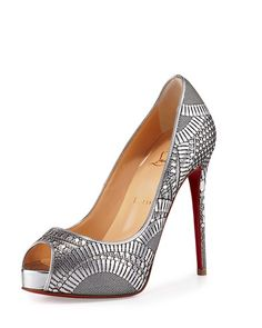 State of the Art - Christian Louboutin Laser Metallic Open Toe Pump at Neiman Marcus NMS16_X2W8S