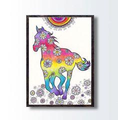 Instant Digital Download PRINT Horse Drawing, Rainbow Colors Animal Wall Decor, Kids Nursery Children Room Wall Art Decor, Printable Art by DHANAdesign on Etsy