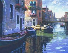 Morning Light - Venice by Howard Behrens Venice Canals Gandolas 9x12 Paper Print #Realism