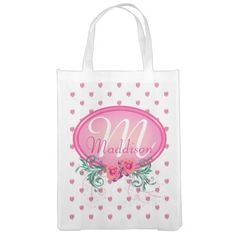 http://www.zazzle.com/pink_frame_monogram_rose_reusable_grocery_bags-256101615263102890?rf=238523064604734277 Pink Frame Monogram Rose Reusable Grocery Bags - This grocery bag has lots of pink roses all over. It has a pink monogram frame with roses and green foliage in which to place your name and initial. This would make a wonderful birthday or Christmas gift for your friend, wife, mother or daughter.