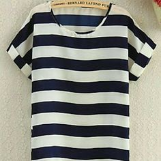 Stripped top Women's Striped White/Navy Blue Blouse, Cute Round Neck Short Sleeve Boutique  Tops
