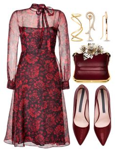 """Floral Dress"" by joslynaurora on Polyvore featuring Valentino, Jimmy Choo, Amorium, Maison Margiela, women's clothing, women's fashion, women, female, woman and misses"