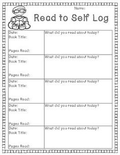 Use this log to help keep your students accountable for their work at the Read to Self station.You can keep track of what they are reading and how much they are reading each day.
