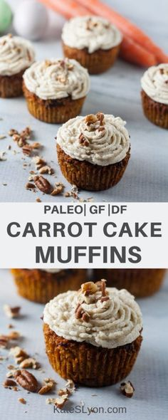 These gluten-free, dairy-free Paleo Carrot Cake Muffins taste just like my favorite carrot cake without all the unhealthy ingredients. Paleo Muffin Recipes, Baby Carrot Recipes, Dairy Free Recipes, Real Food Recipes, Snack Recipes, Dessert Recipes, Primal Recipes, Vegan Recipes, Healthy Carrot Muffins
