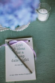 Fun idea - asking your guests for ideas for cheap date nights! Photography by sarahderphotography.com