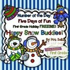 Number of the Day: Happy Snow Buddies gives your students a week of practice working with numbers, representation and relationships. All students need daily practice working with numbers to effectively develop their number sense. This unit reviews number sense from the First Grade Common Core Math Curriculum.