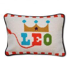 JONATHAN ADLER Leo Zodiac Needlepoint Pillow